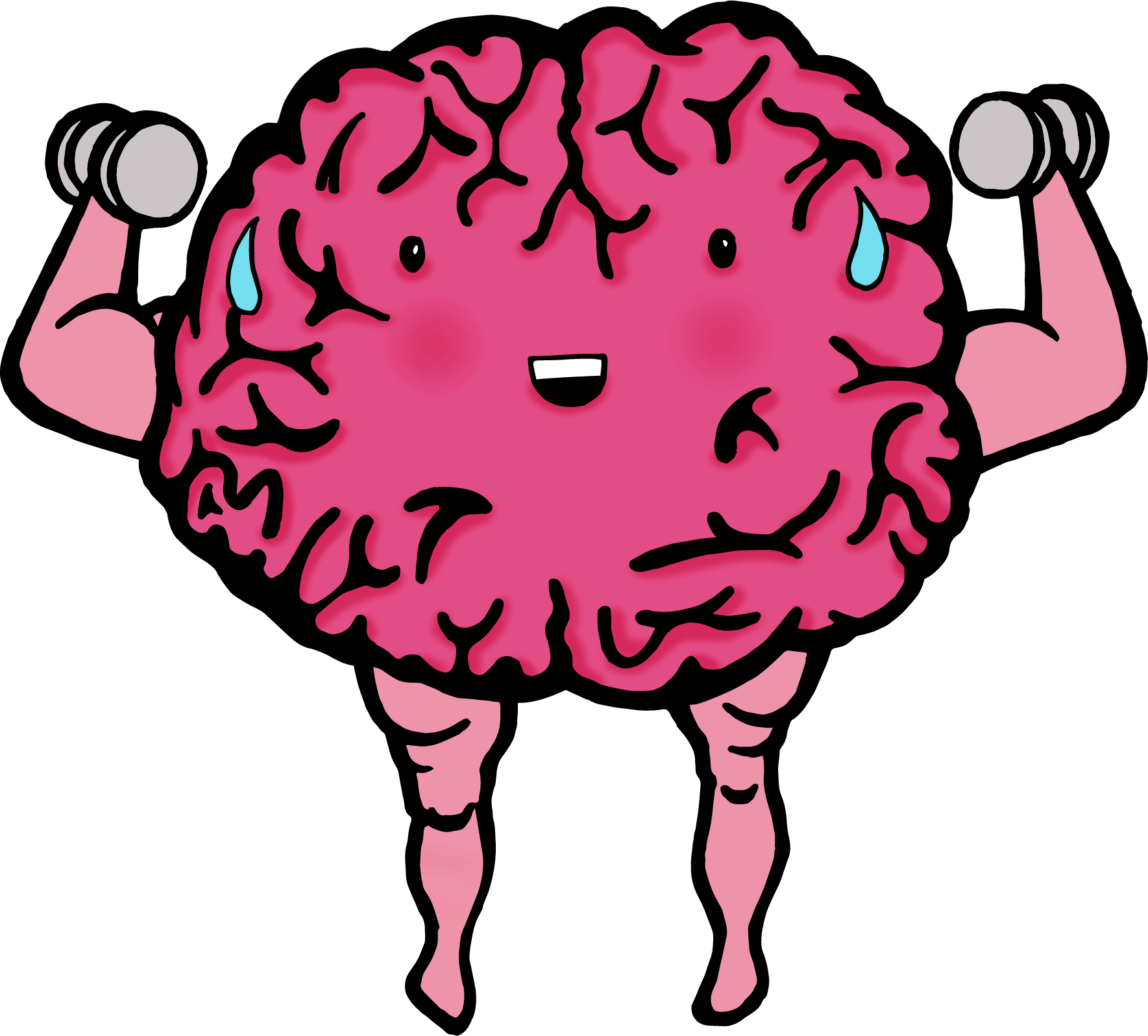 Brain with face lifting weights