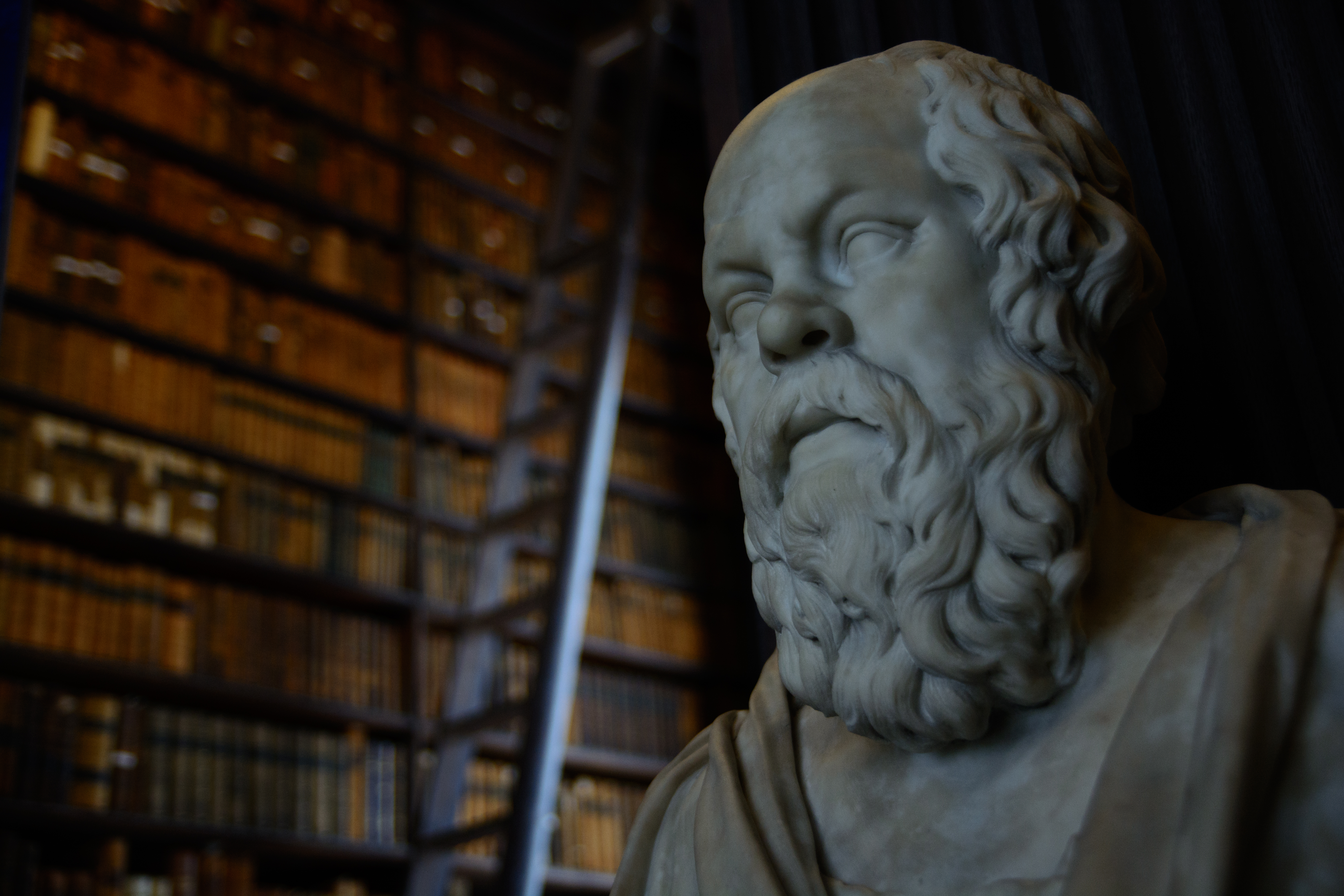 Statue of Socrates in a library