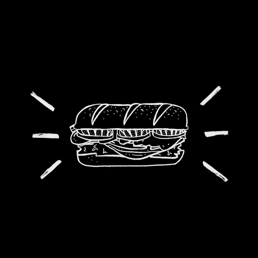 Black and white drawing of sandwich