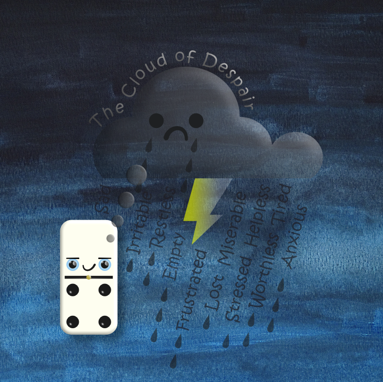 Cloud of despair above domino cartoon character