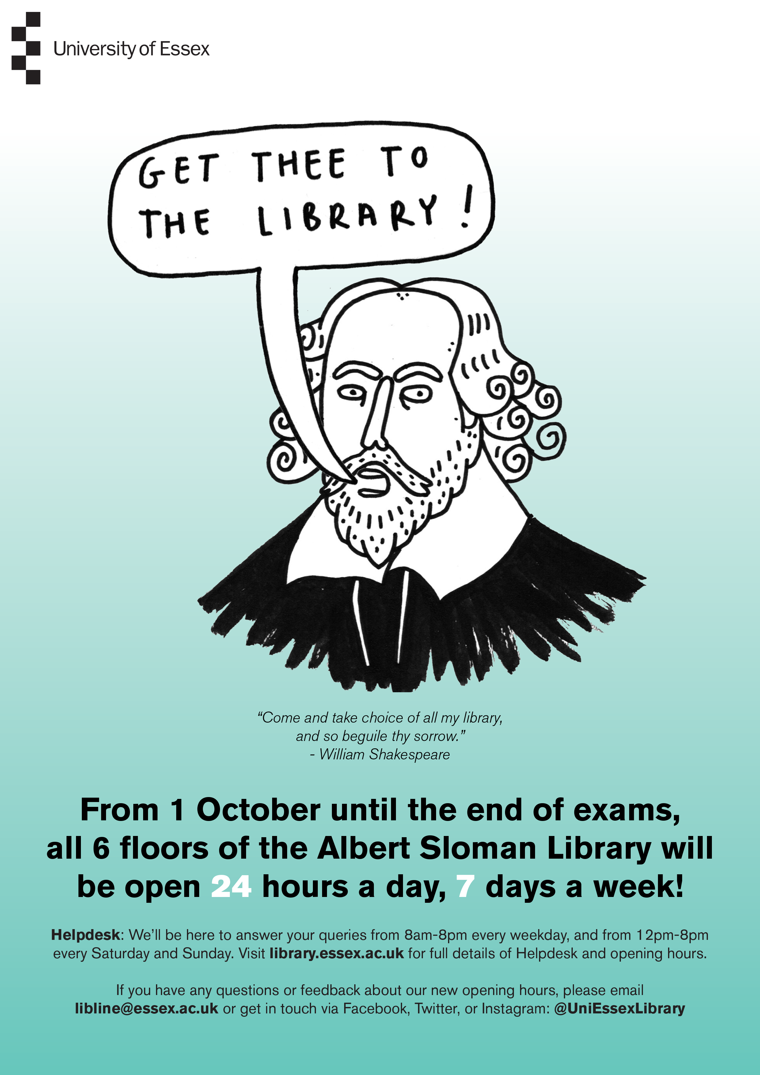 Library poster with cartoon of Shakespeare on it