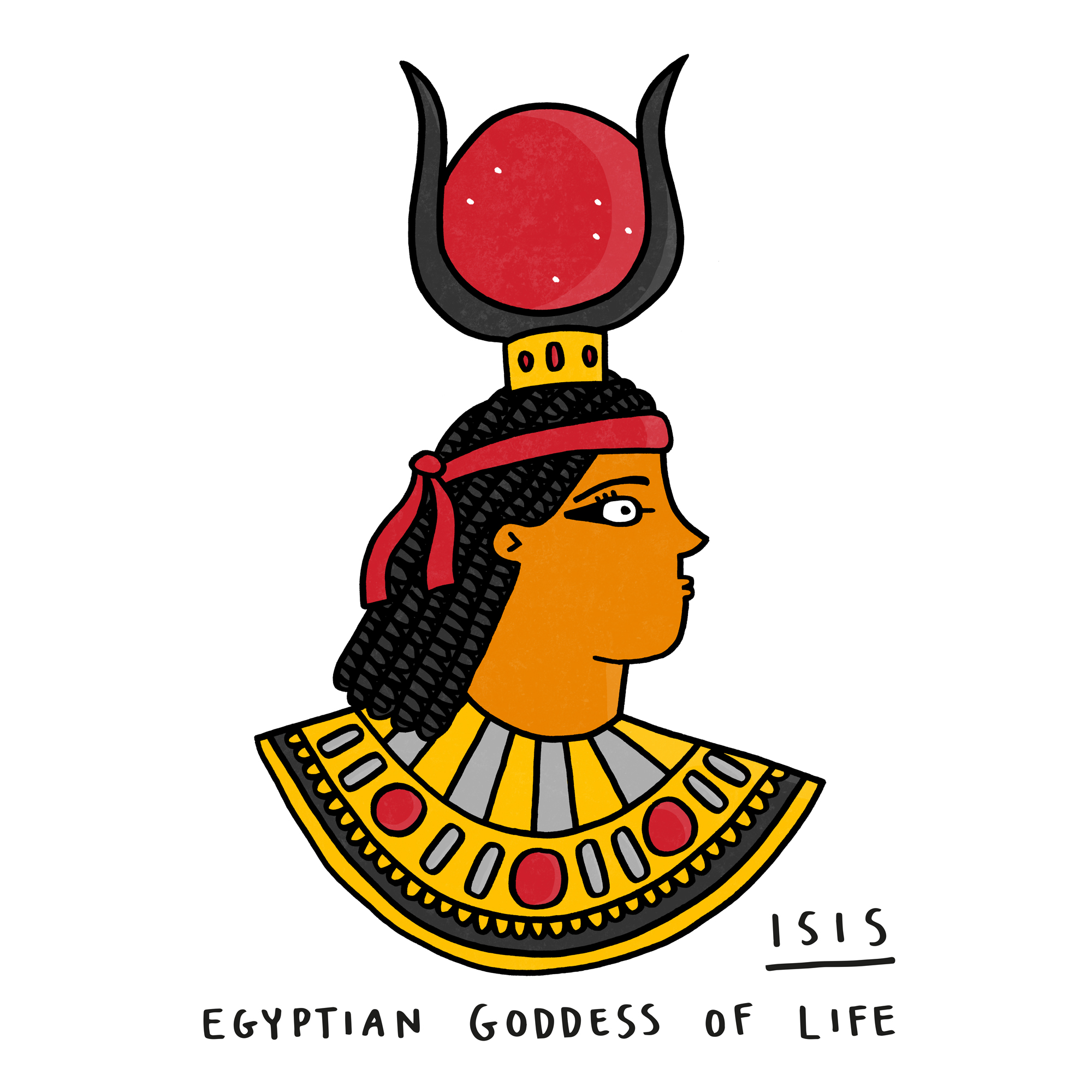 Cartoon of Isis, Egyptian Goddess of Life