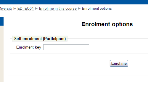 Screenshot of enrolment key field