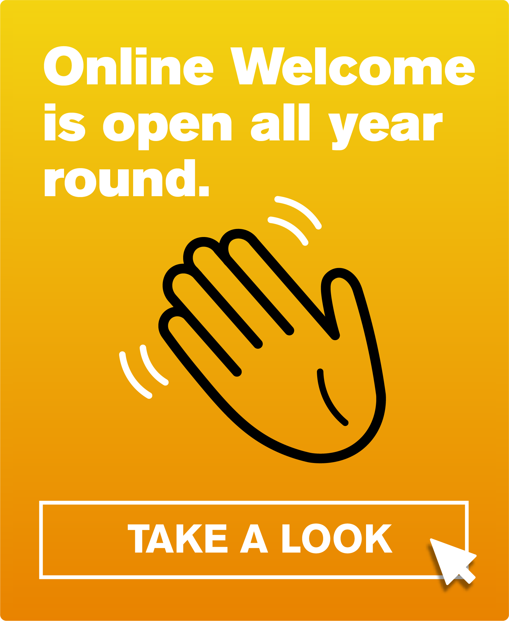 Button reads: online Weclone is open all year round. Take a look.