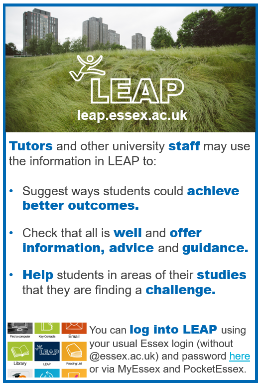 Tutors can use LEAP too! To find out more contact the LEAP team.